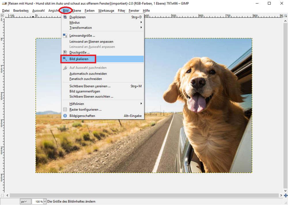 Bilddatei skalieren mit GIMP